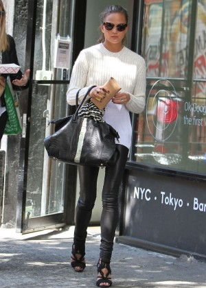 Chrissy Teigen in Leather Pants out in NYC