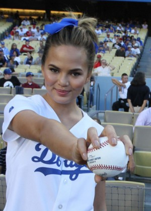 Chrissy Teigen hot at Los Angeles Dodgers v Los Angeles Angels Baseball Game