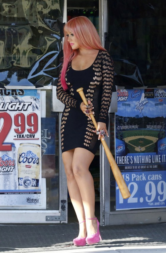 Christina Aguilera 2012 : Christina Aguilera leggy in tight mini dress-01