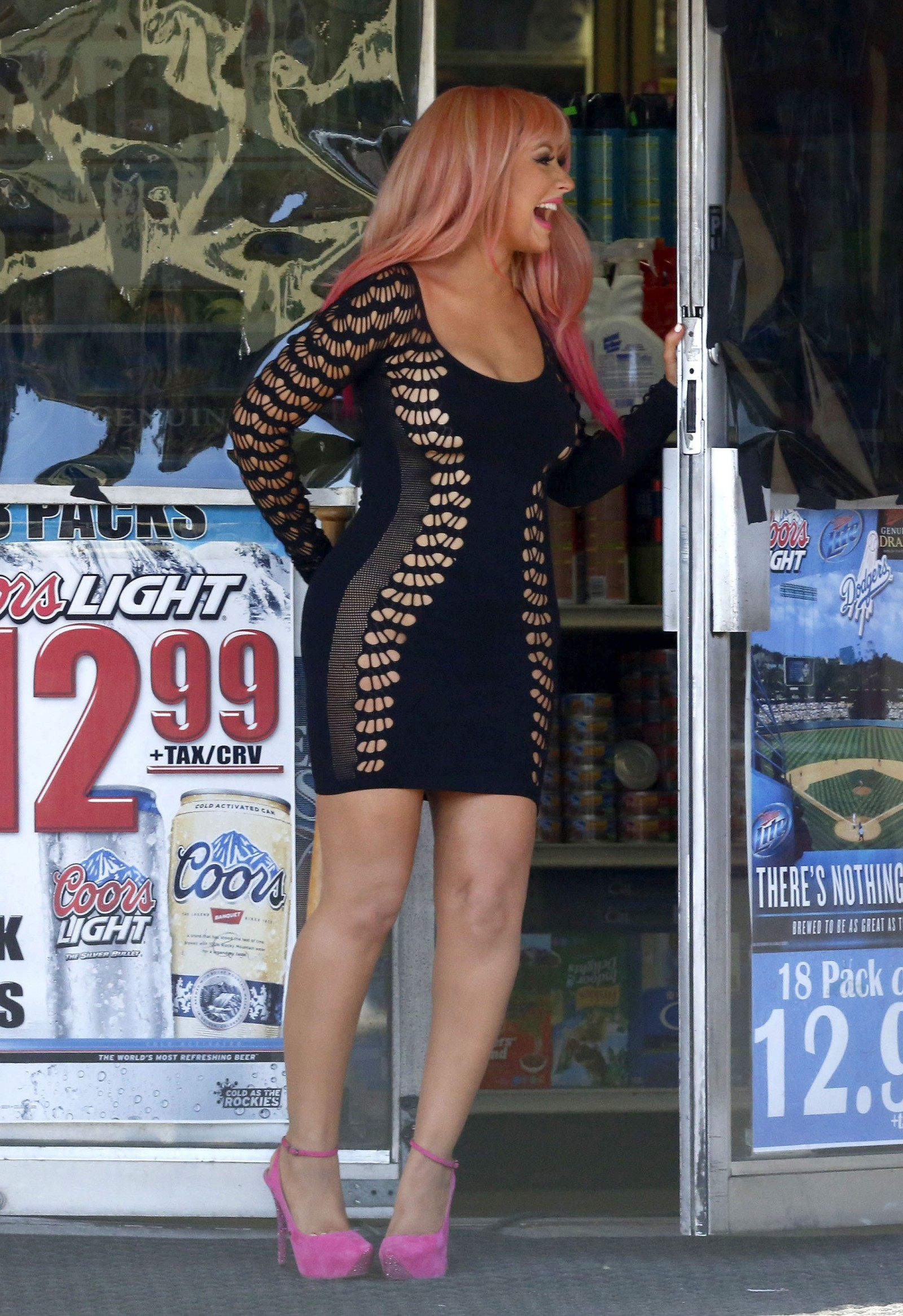 Christina Aguilera Leggy In Tight Mini Dress 13 Gotceleb