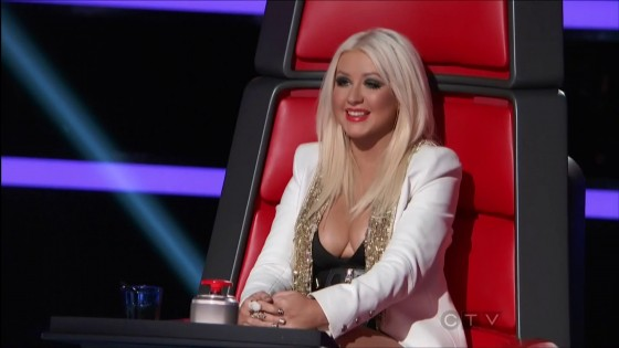 Christina Aguilera showing cleavage on The Voice TV Show