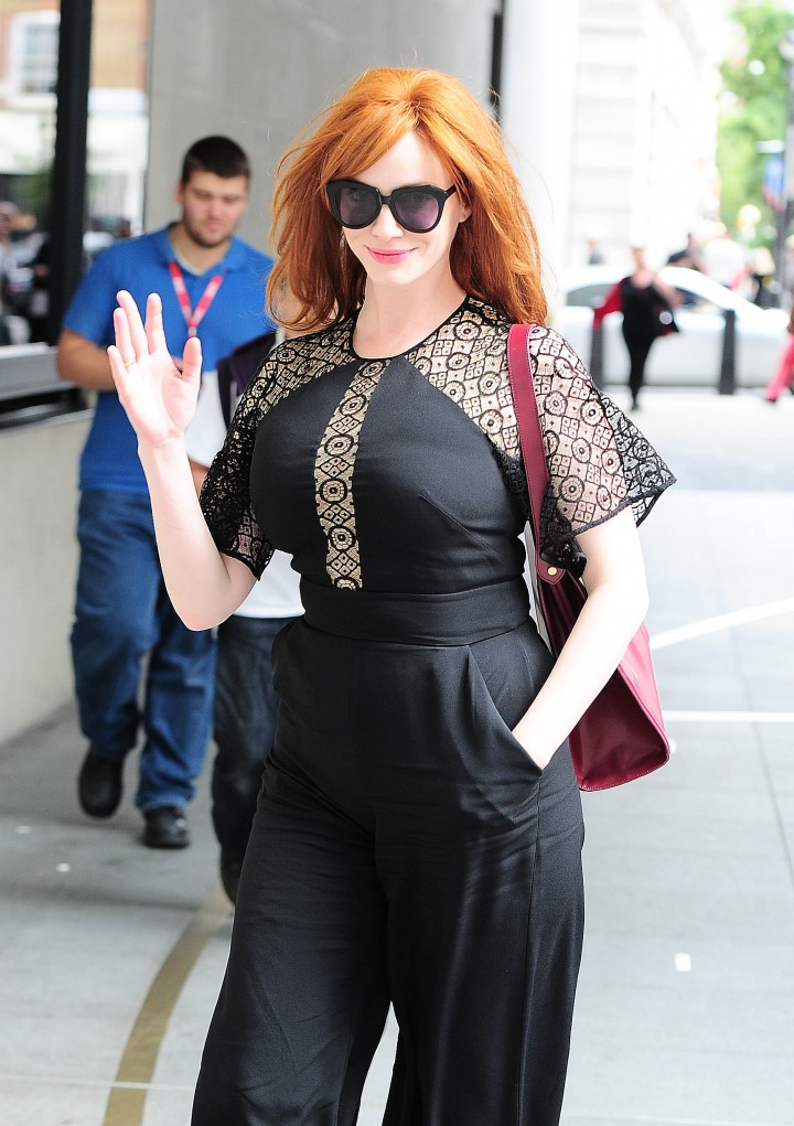 Christina Hendricks Street Candids at the BBC Studios in London