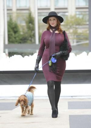 Christina Hendrick - Walks Her Pooch in Lincoln Center