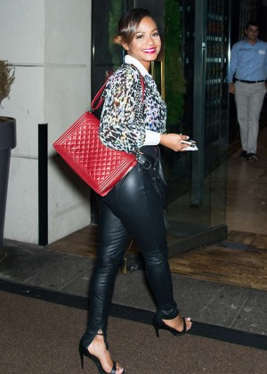 Christina Milian in Leather Pants at Empire Hotel in NYC