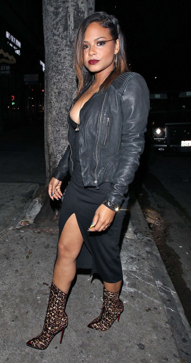 Christina Milian in Long Dress at Warwick Club in LA