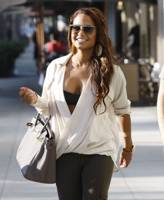 Christina Milian – Black Bra Candids in Beverly Hills-12