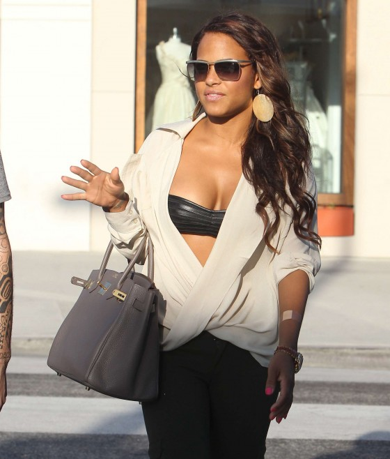 Christina Milian - Black Bra Candids in Beverly Hills-13
