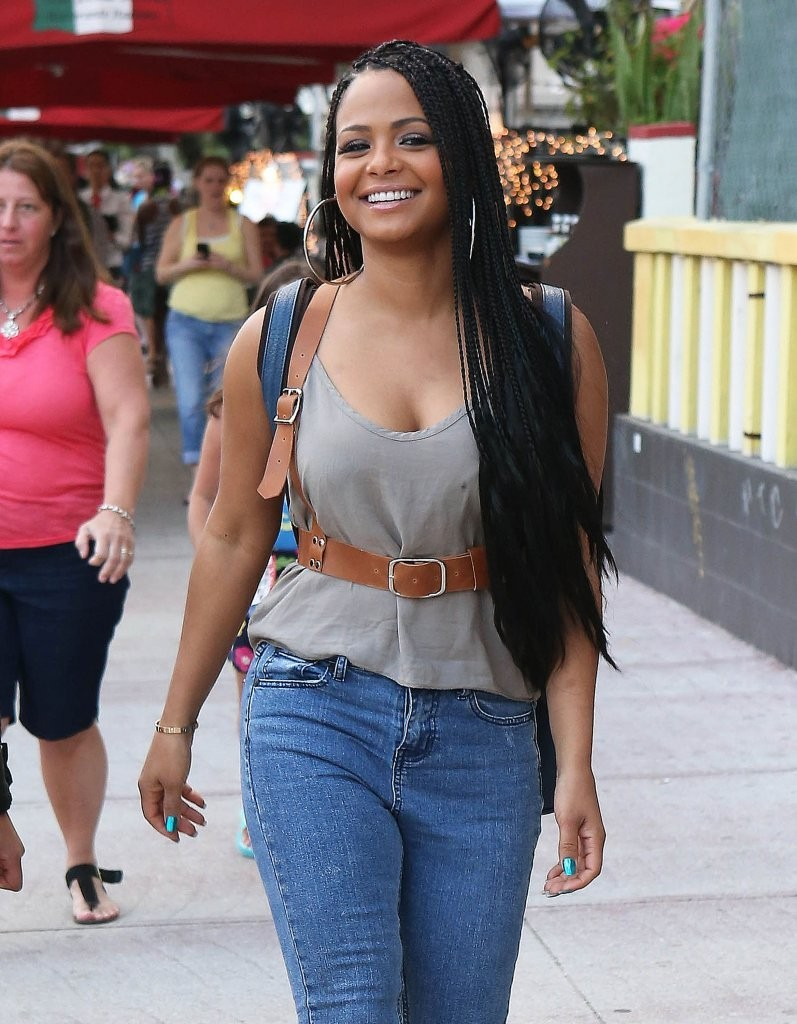 Christina Milian in Jeans out and about candids in Miami