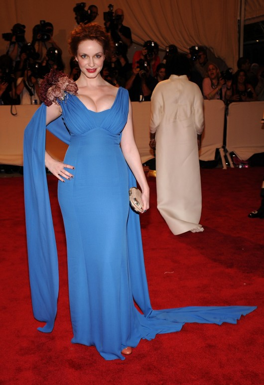 Christine Hendricks Cleavage at 2010 Costume Institute Gala in NYC