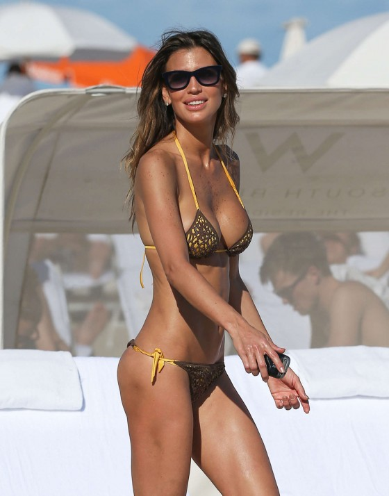 Claudia Galanti - New bikini candids on the beach in Miami