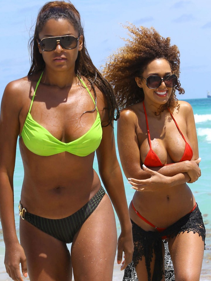 Claudia Jordan and Aisha Thalia Bikini Photos: 2014 in Miami -05