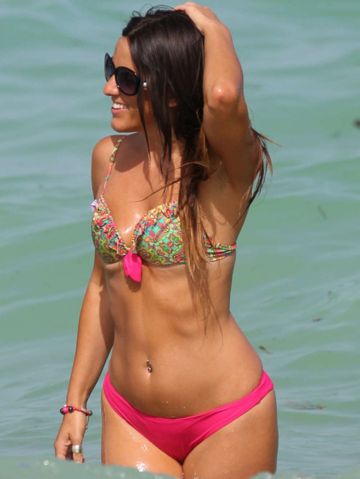 Claudia Romani Wearing Pink Bikini in Miami