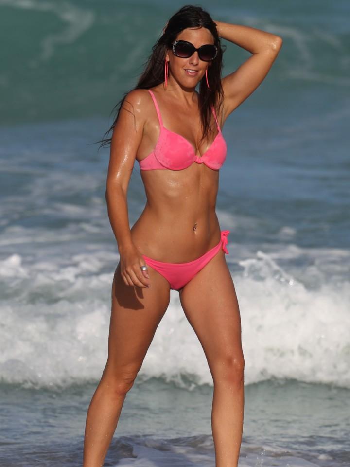 Claudia Romani in a Pink Bikini in Miami