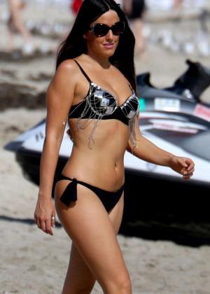 Claudia Romani in Black Bikini on Miami Beach