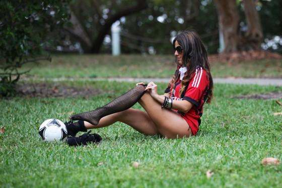 Claudia Romani in thong bikini plays soccer in Miami-10