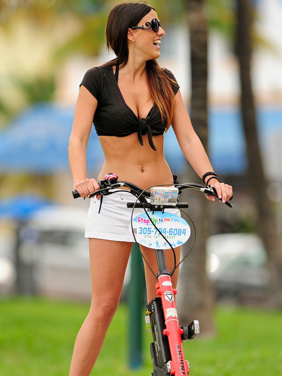 Claudia Romani 2014 : Claudia Romani Hot Photos: 2014 Riding a Step-Up Trike Scooter -04