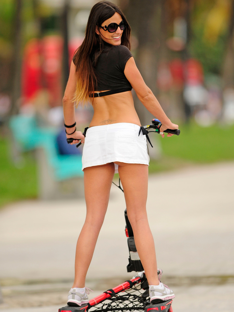 Claudia Romani 2014 : Claudia Romani Hot Photos: 2014 Riding a Step-Up Trike Scooter -07