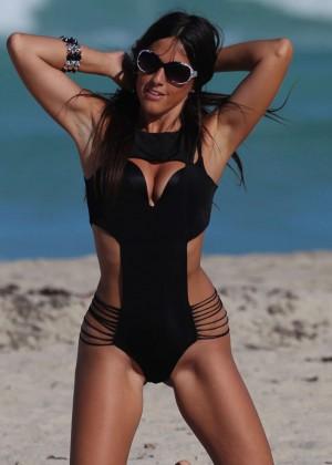 Claudia Romani Wearing A Swimsuit In Miami Gotceleb