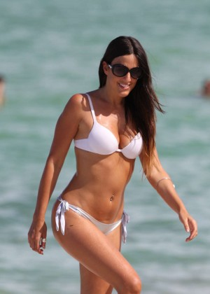 Claudia Romani in White Bikini on Miami Beach