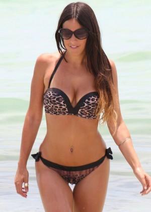 Claudia Romani Wearing Leopard Print Bikini in Miami