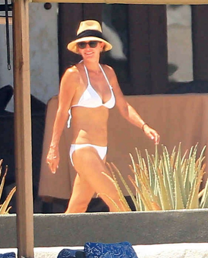 Courteney Cox in White Bikini in Cabo