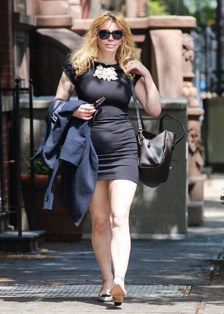 Courtney Love 2013 : Courtney Love – Out in tight black mini dress -02