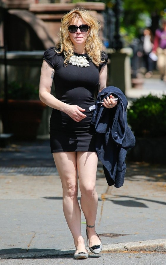 Courtney Love 2013 : Courtney Love – Out in tight black mini dress -03