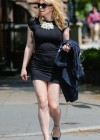 Courtney Love - Out in tight black mini dress -07