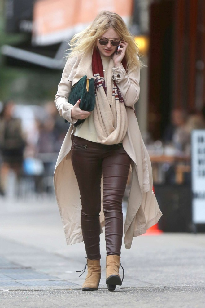 Dakota Fanning in Leather Pants Out in NYC