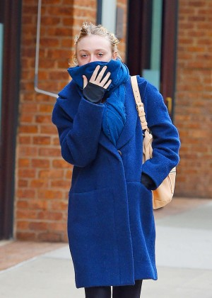 Dakota Fanning in Blue Coat Out in New York