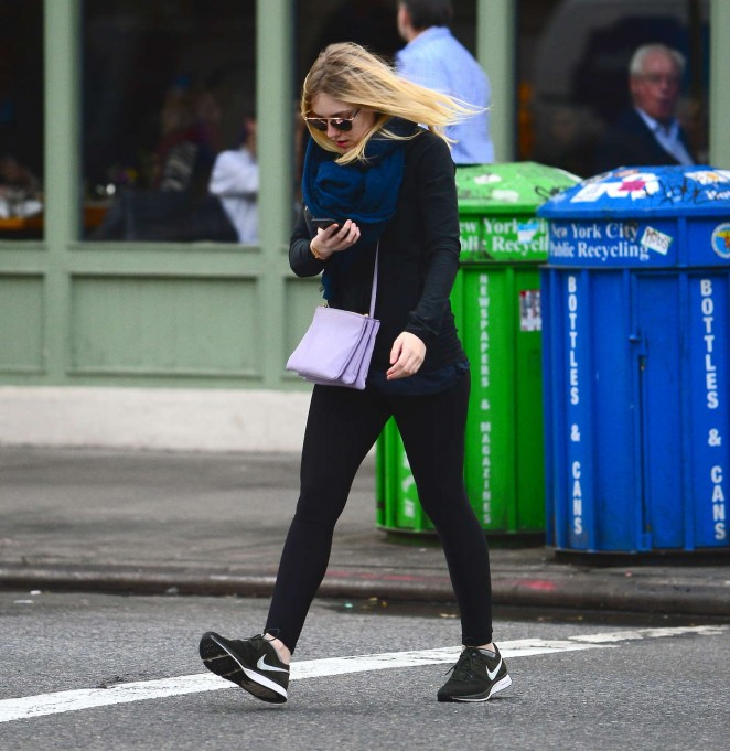 Dakota Fanning in Spandex out in New York