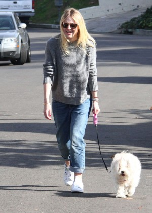 Dakota Fanning in Jeans Walking her dog in LA