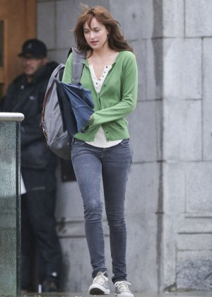 """Dakota Johnson in Tights and Green Sweater - Filming """"Fifty Shades of Grey"""" in Vancouver"""