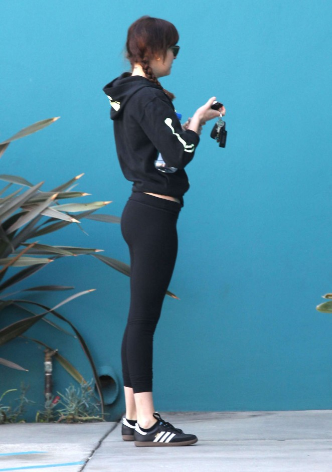 Dakota Johnson in Leggings Leaving Pilates Class in West Hollywood