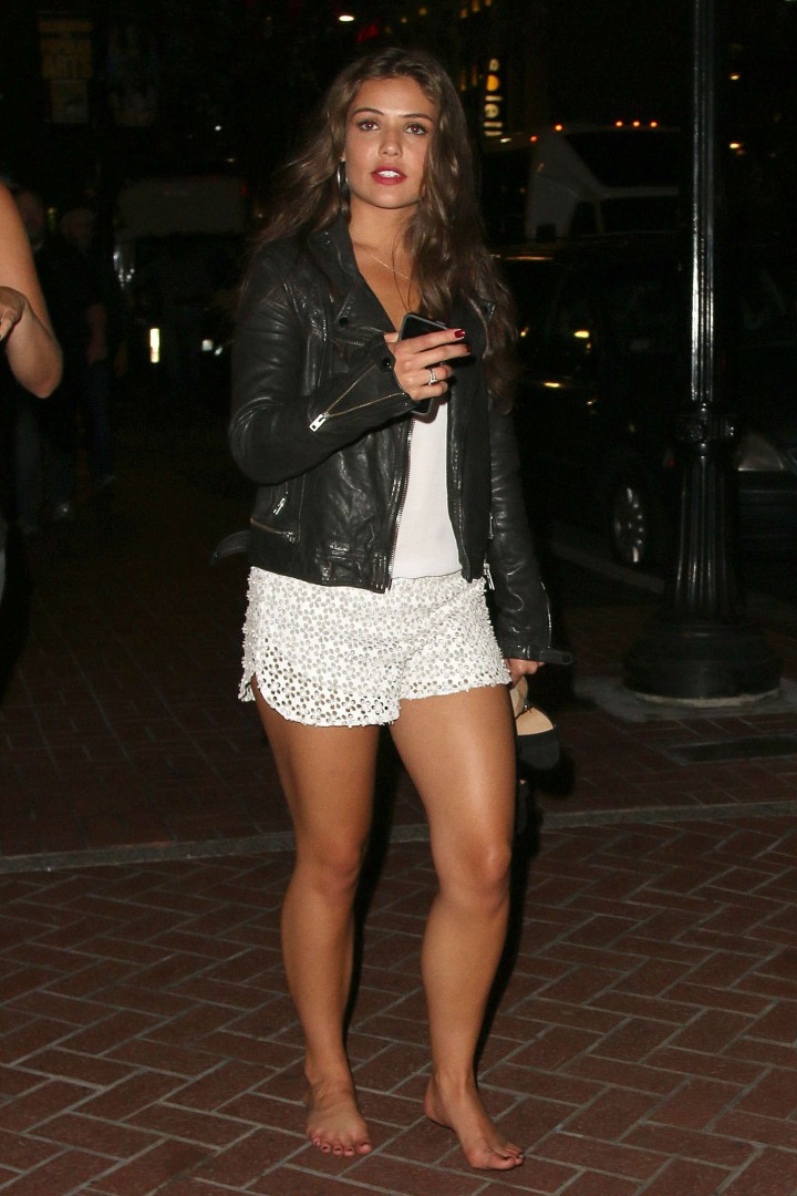 Danielle Campbell in white shorts out In San Diego