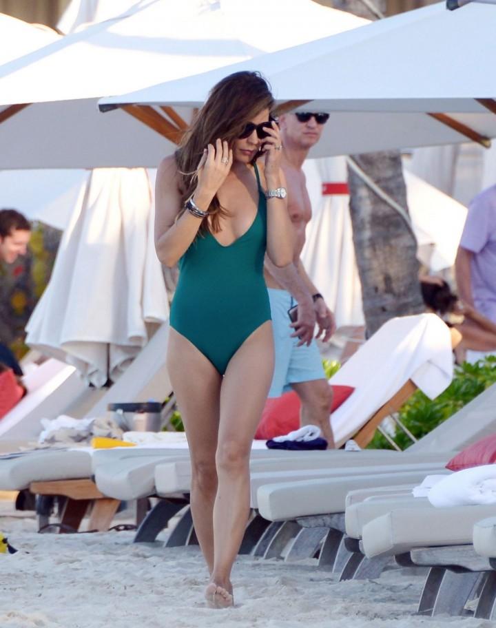 Danielle Lineker in Swimsuit on a Beach in St Barts