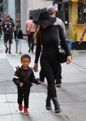 Daphne Joy with her son in Fashion District out in LA