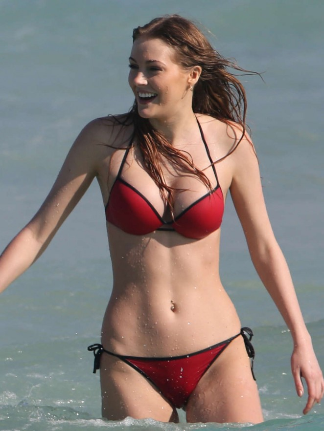 Deimante Guobyte in Red Bikini on Miami Beach