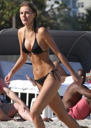 Deimante Guobyte Black Bikini Photos: 2014 in Miami -05