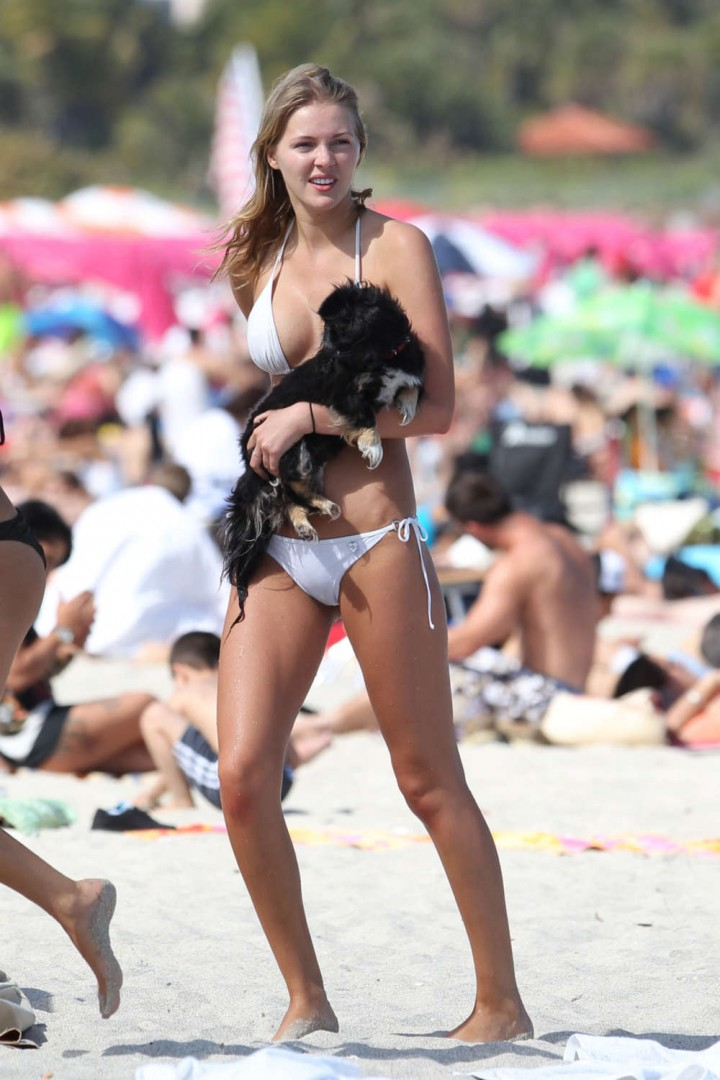 Deimante Guobyte White Bikini Photos: 2014 Miami -01