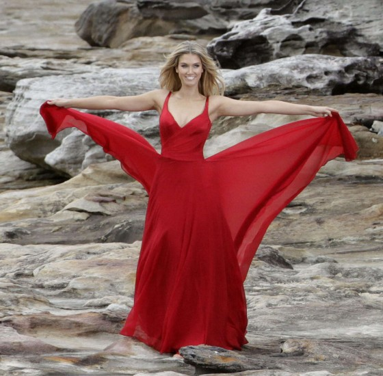 Delta Goodrem - Wearing red dress for Swiss vitamine commercial Photoshoot in Sydney