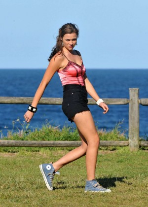 "Demi Harman in Shorts Filming ""Home and Away"" Set at Palm Beach in Sydney"