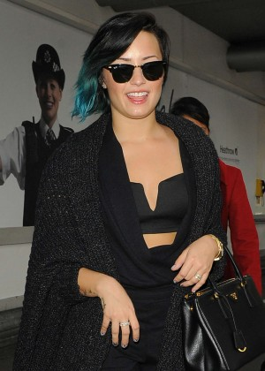 Demi Lovato - Arriving at Heathrow airport in London