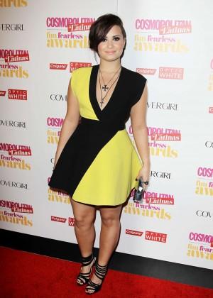 Demi Lovato Black and Yellow dress -03