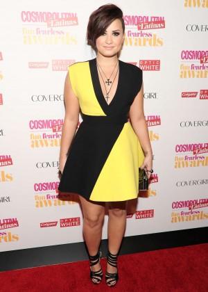 Demi Lovato Black and Yellow dress -07