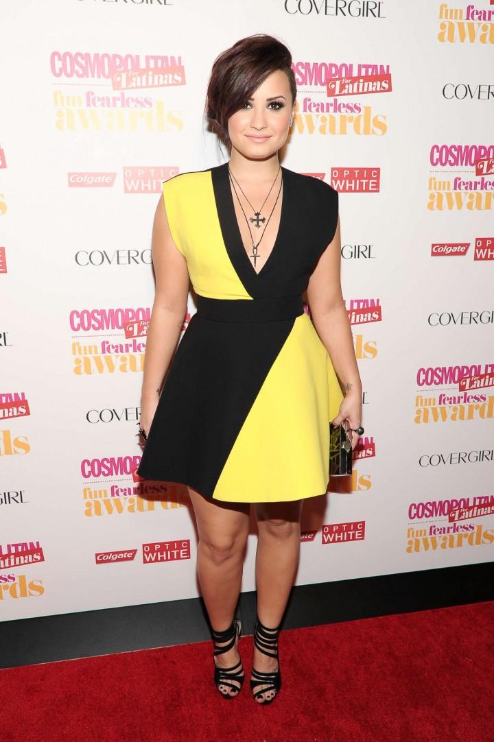 Demi Lovato Black and Yellow dress -07 - GotCeleb