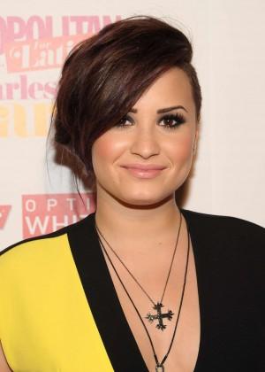 Demi Lovato Black and Yellow dress -11