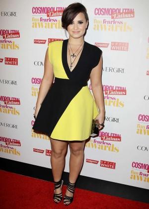 Demi Lovato Black and Yellow dress -12