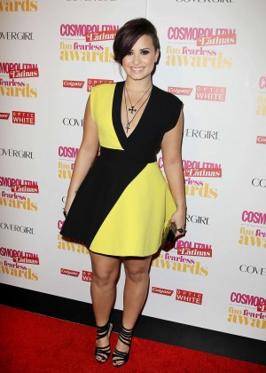 Demi Lovato Black and Yellow dress -13