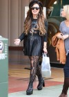 Demi Lovato - Black Leather Skirt and Stockings-04
